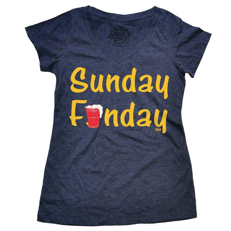 Women's Sunday Funday Vintage Grey V-neck T-shirt | SOLID THREADS