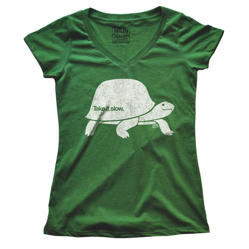 Women's Take It Slow Vintage V-neck T-shirts | SOLID THREADS