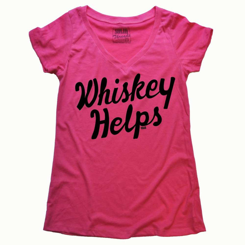 Women's Whiskey Helps Vintage V-neck T-shirt | SOLID THREADS