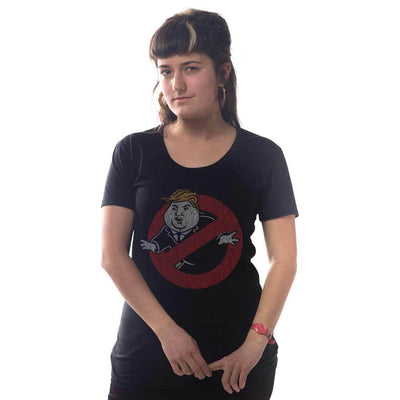 Women's Trump Busters Retro Pop Culture T-shirt on Model | SOLID THREADS