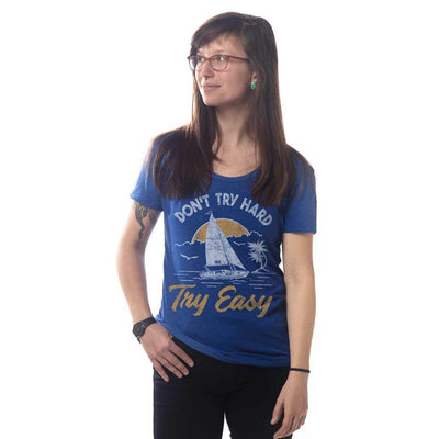 Women's Don't Try Hard Try Easy Retro Sailing & Beach T-shirt on Model | SOLID THREADS