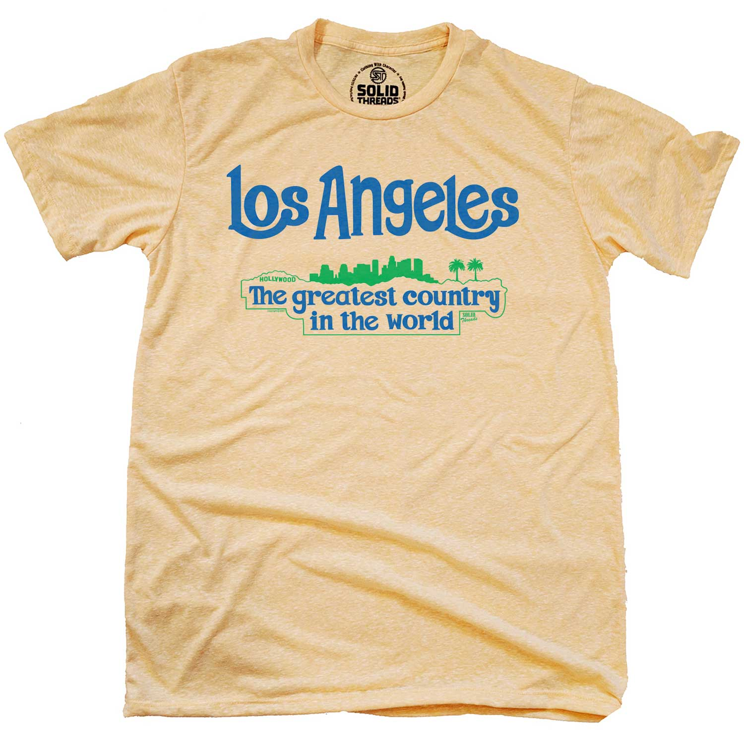 Men's Los Angeles Greatest Country In the World Vintage Inspired T-shirt | Funny California  Graphic Tee | Solid Threads