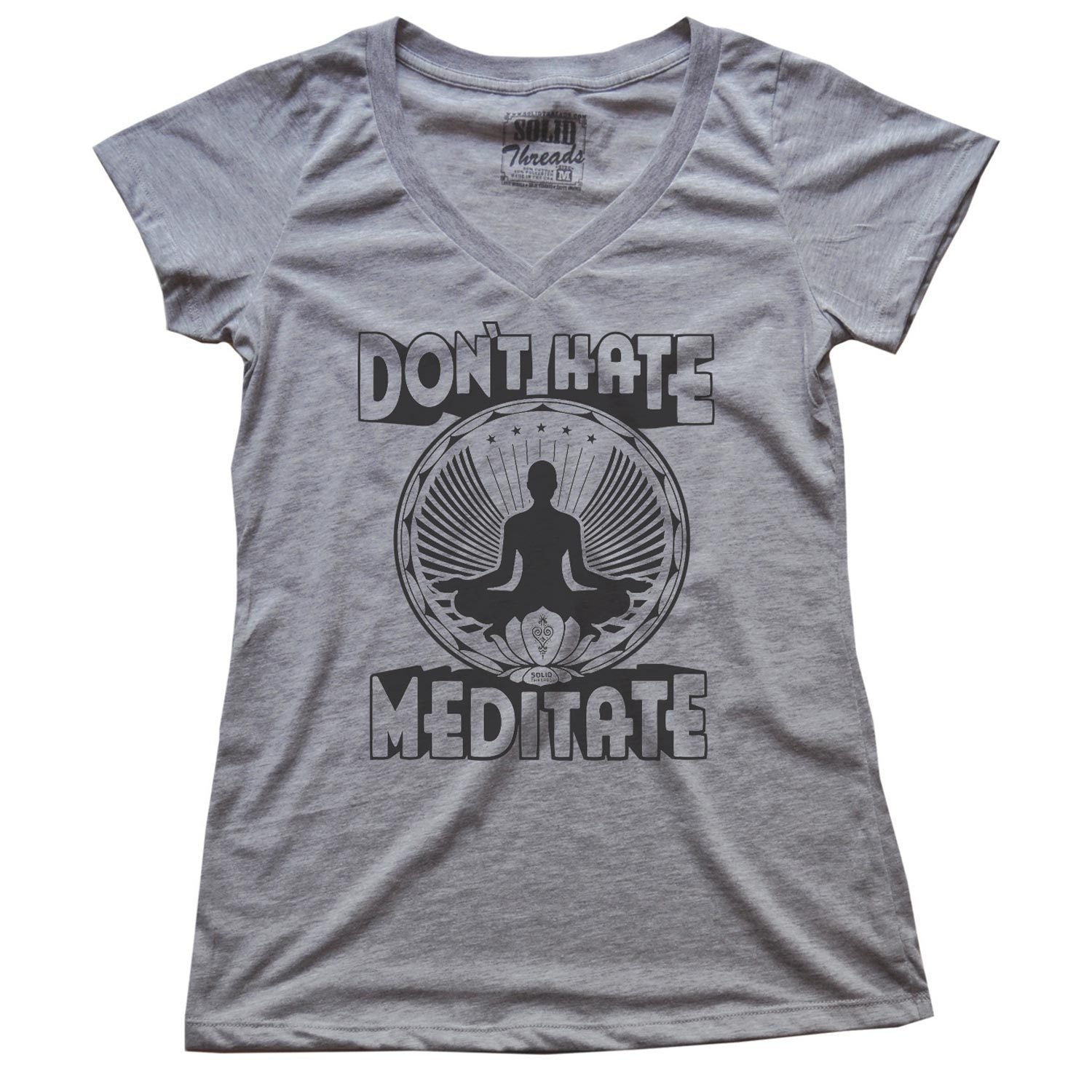 Women's Don't Hate Meditate Vintage V-neck T-shirt | SOLID THREADS