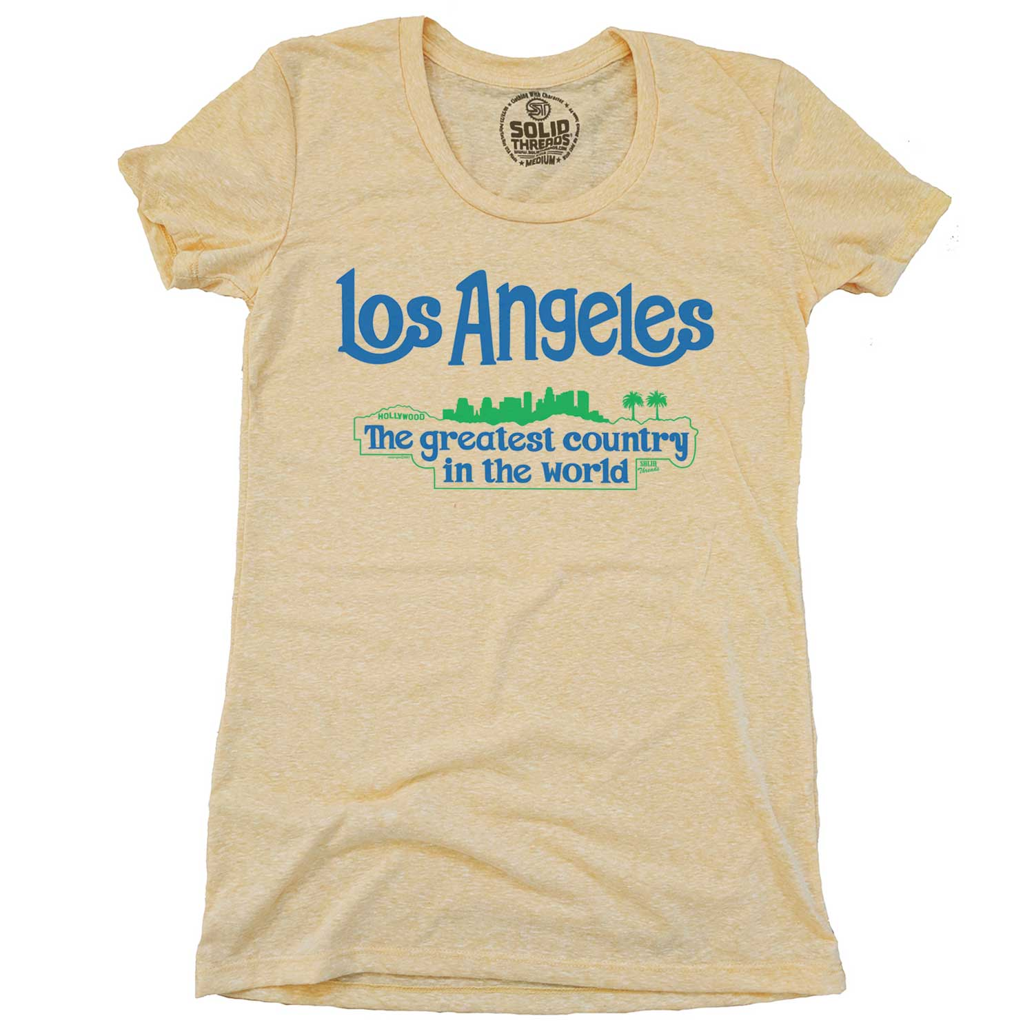 Women's Los Angeles Greatest Country In the World Vintage Inspired T-shirt | Funny California  Graphic Tee | Solid Threads