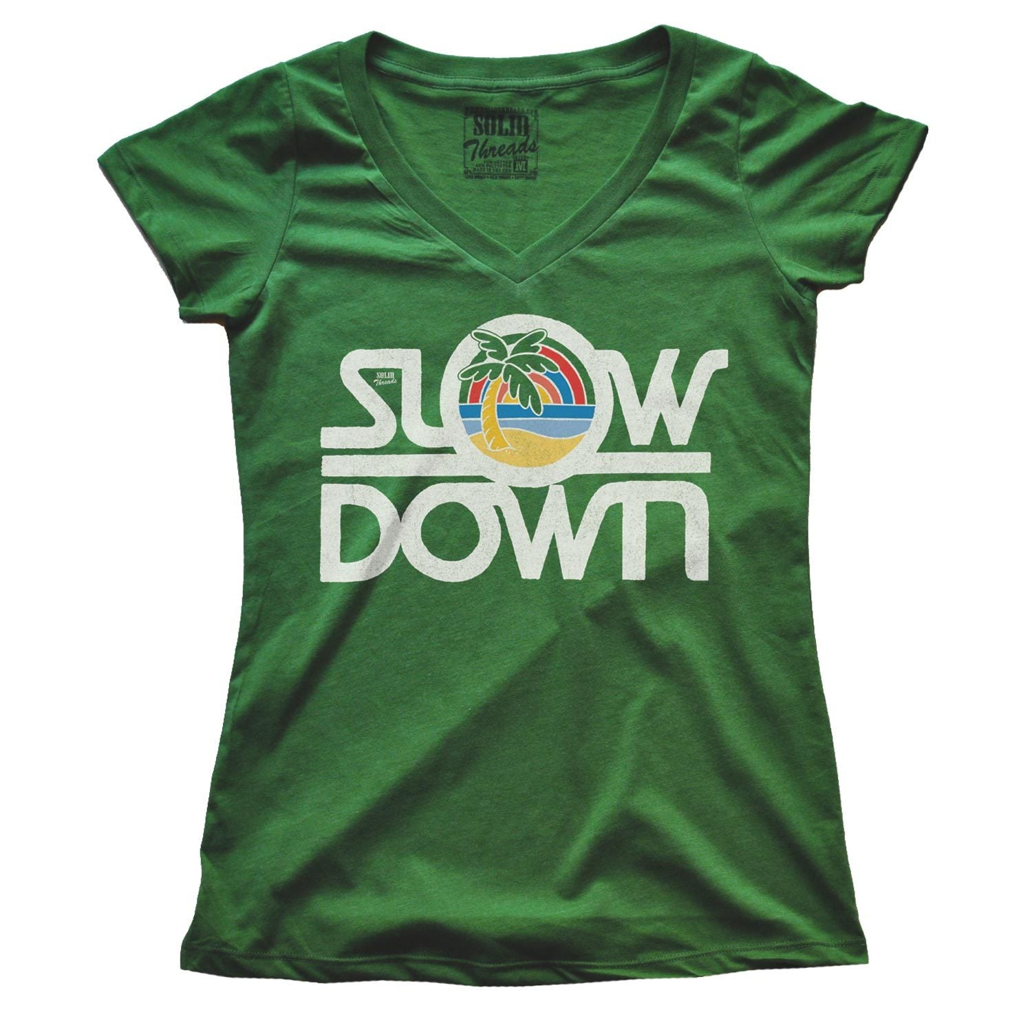 Women's Slow Down Vintage V-neck T-shirt | SOLID THREADS