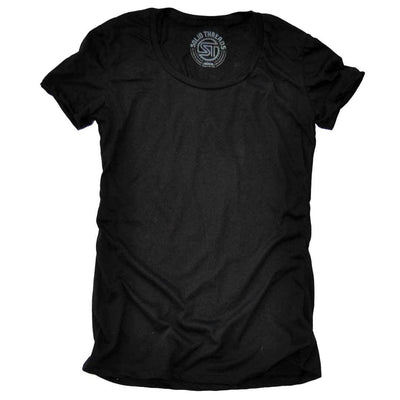 Women's Solid Threads Scoopneck Black T-shirt