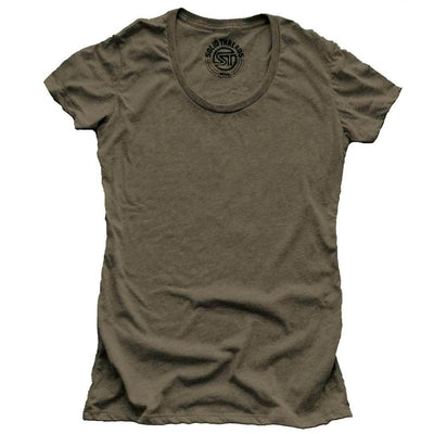 Women's Solid Threads Scoopneck Olive T-shirt