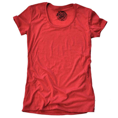 Women's Solid Threads Scoopneck Red T-shirt