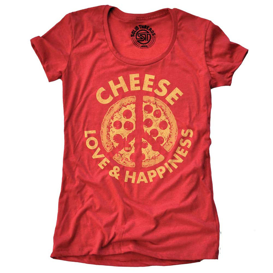 Women's Cheese, Love & Happiness Vintage T-shirt | SOLID THREADS