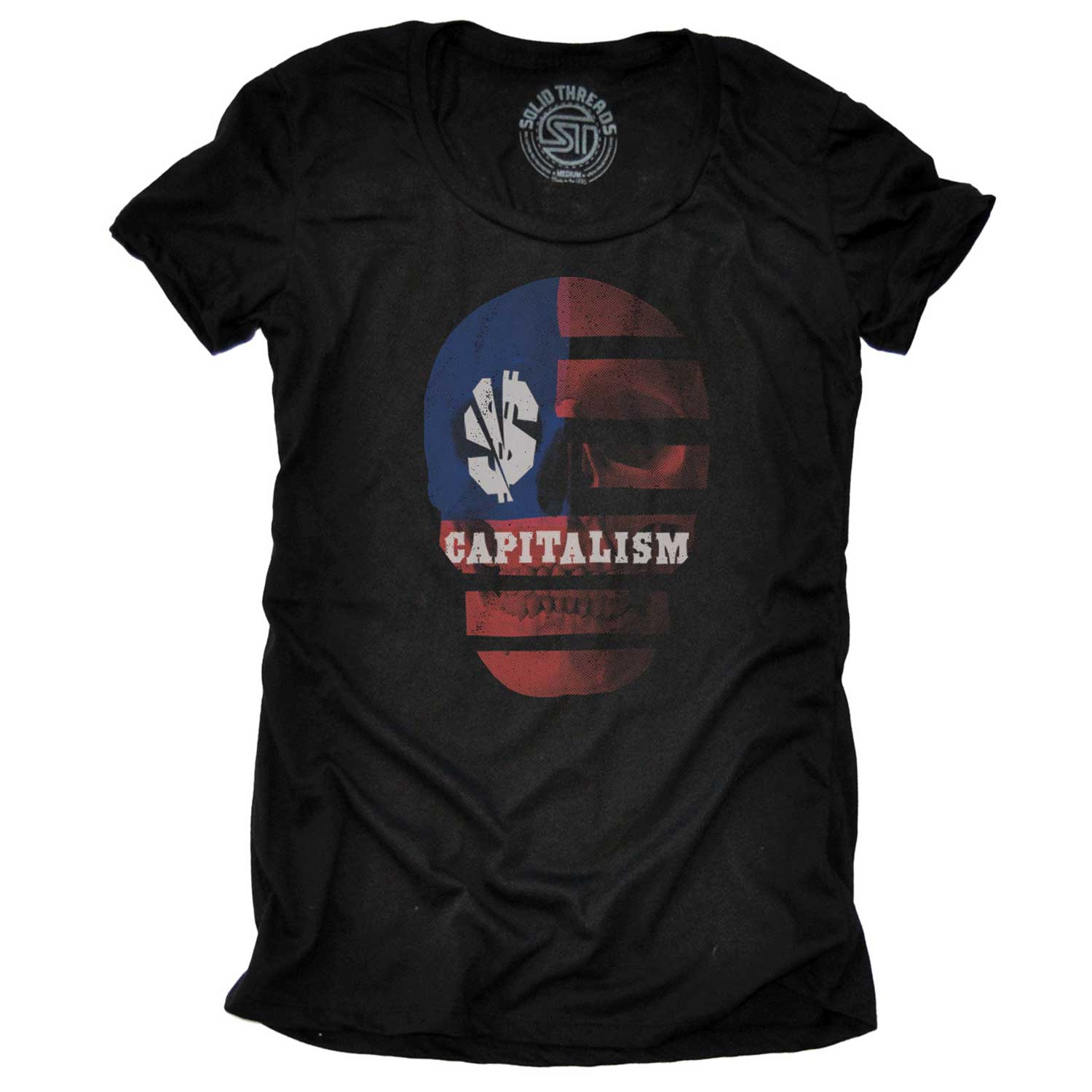 Women's Capitalism Skull Vintage Inspired T-shirt | Cool Income Equality Graphic Tee | Solid Threads
