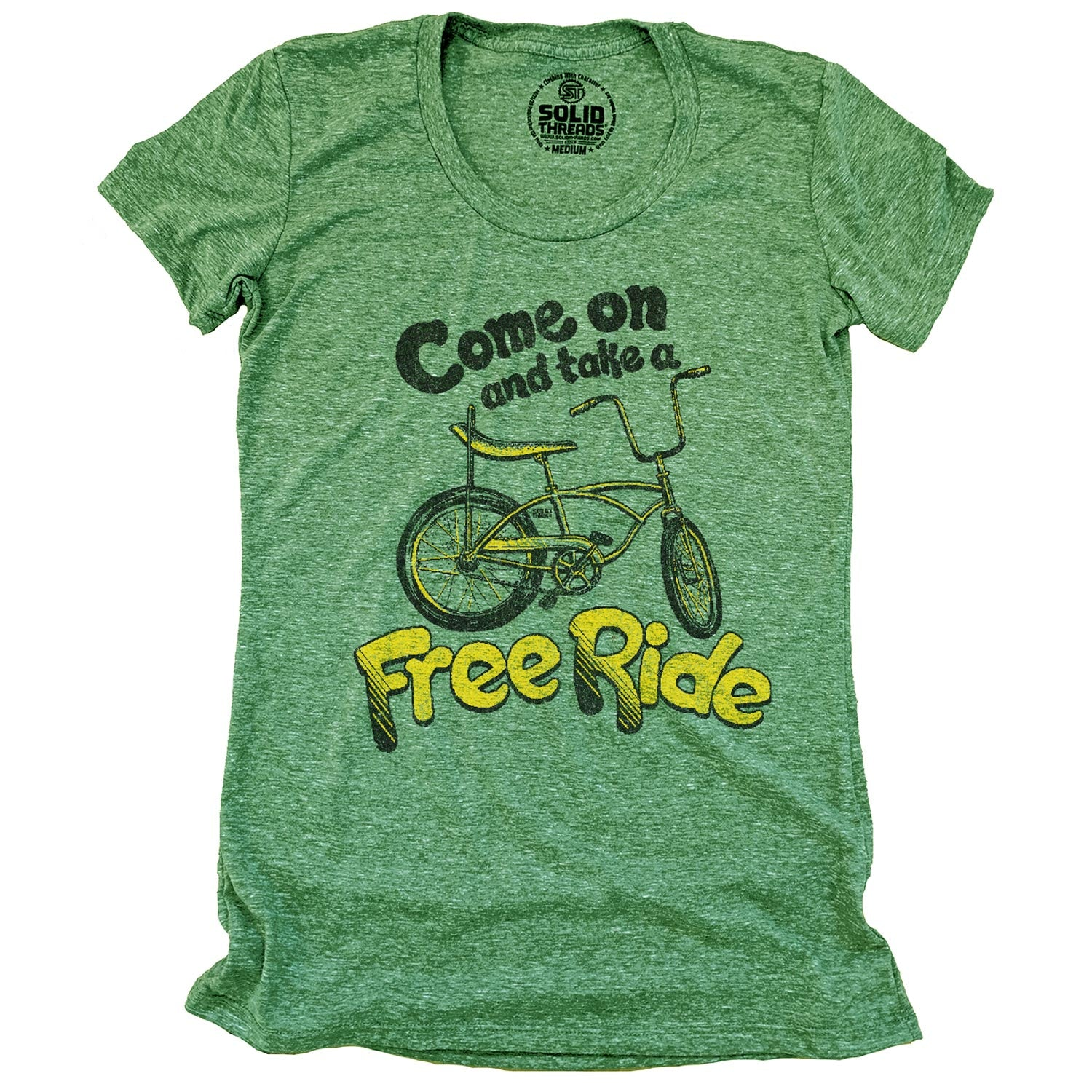 Women's Come On and Take a Free Ride Vintage Inspired T-shirt | Retro Bicycle Graphic Tee | Solid Threads