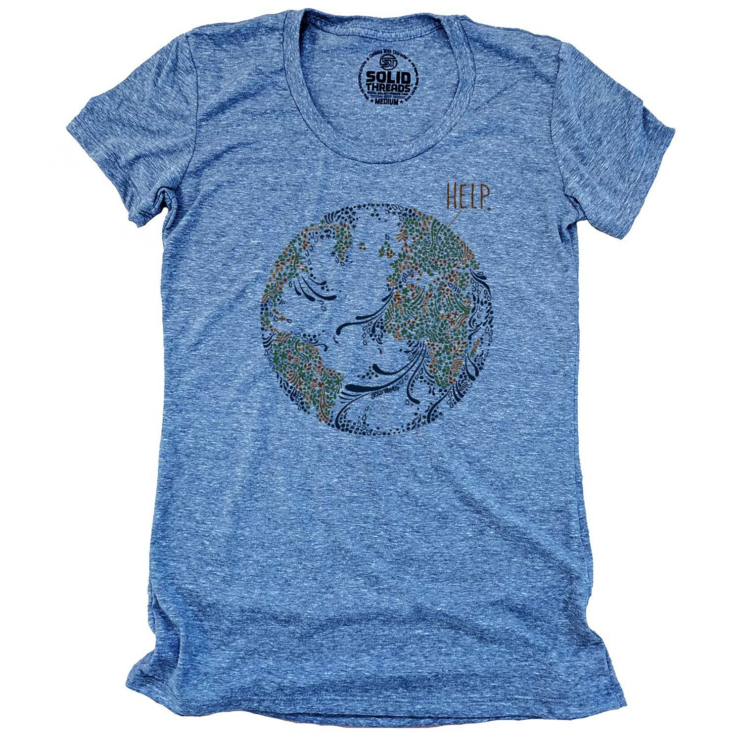 Women's Earth Help Vintage Inspired Scoopneck T-Shirt | Cool Environmentalism Graphic Tee | Solid Threads