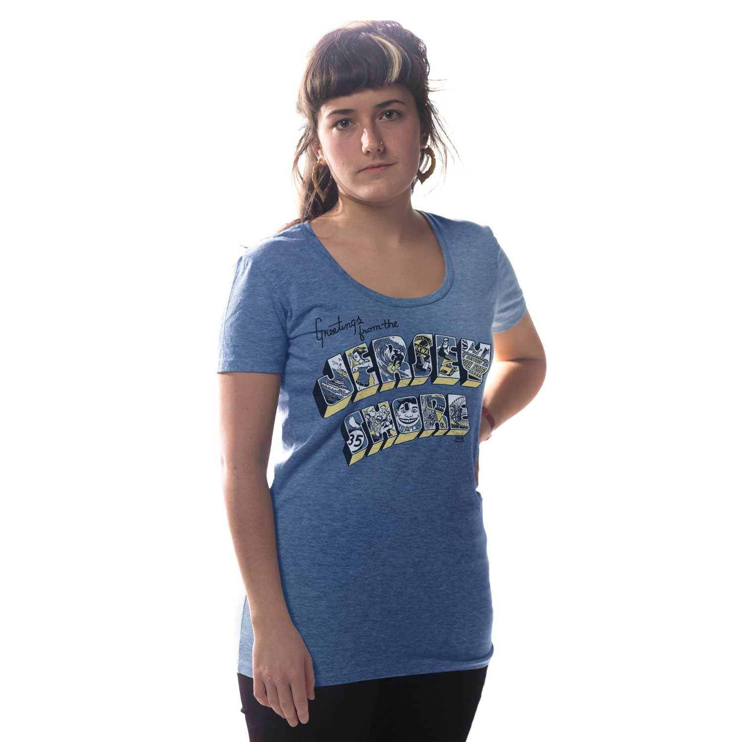 Women's Greetings from the Jersey Shore Vintage Inspired Scoopneck tee-shirt with funny, New Jersey graphic | Solid Threads