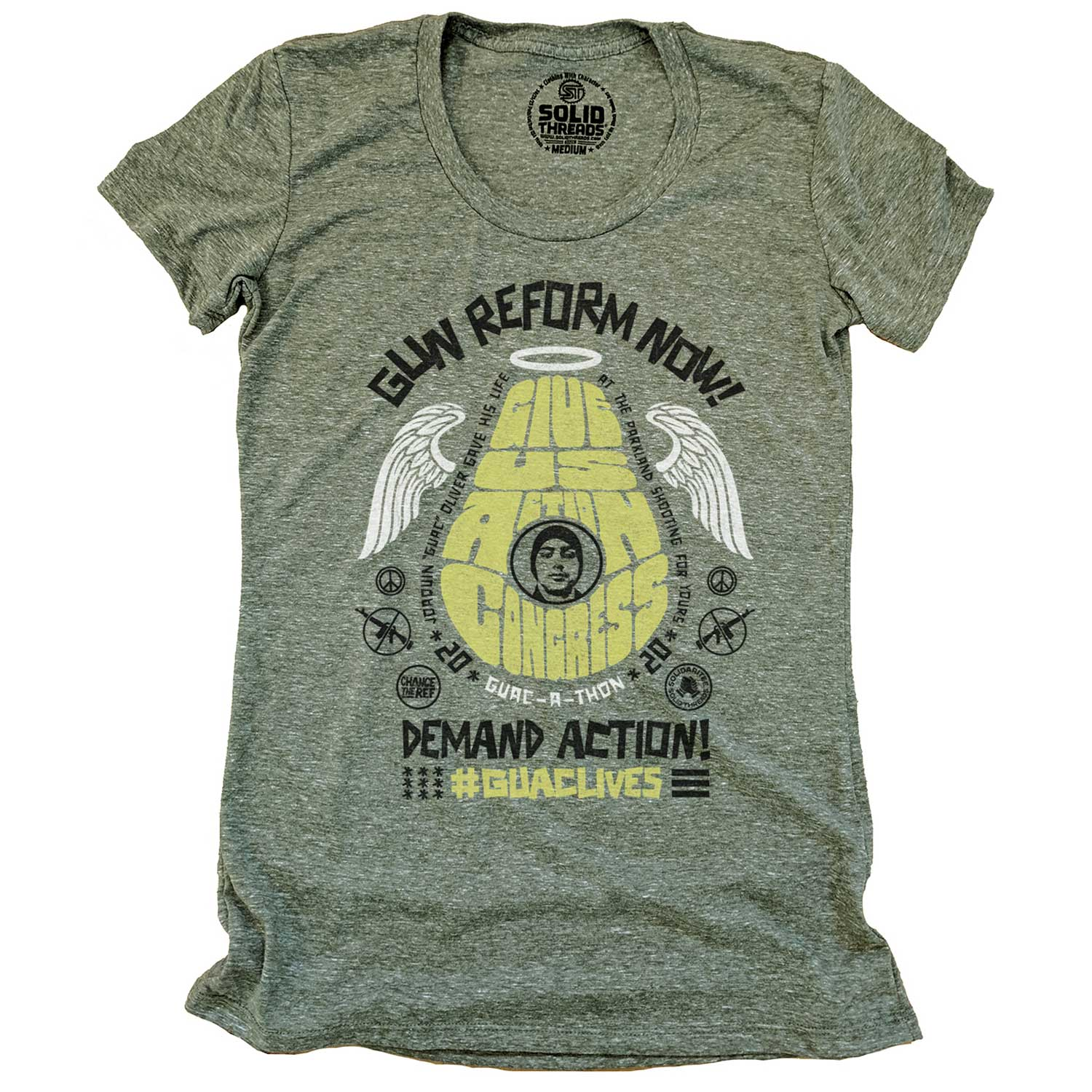 Women's Guac live give us action congress vintage inspired gun reform tee shirt with cool retro protest graphic | #GUAClives in SolidariTEE with Change The Ref