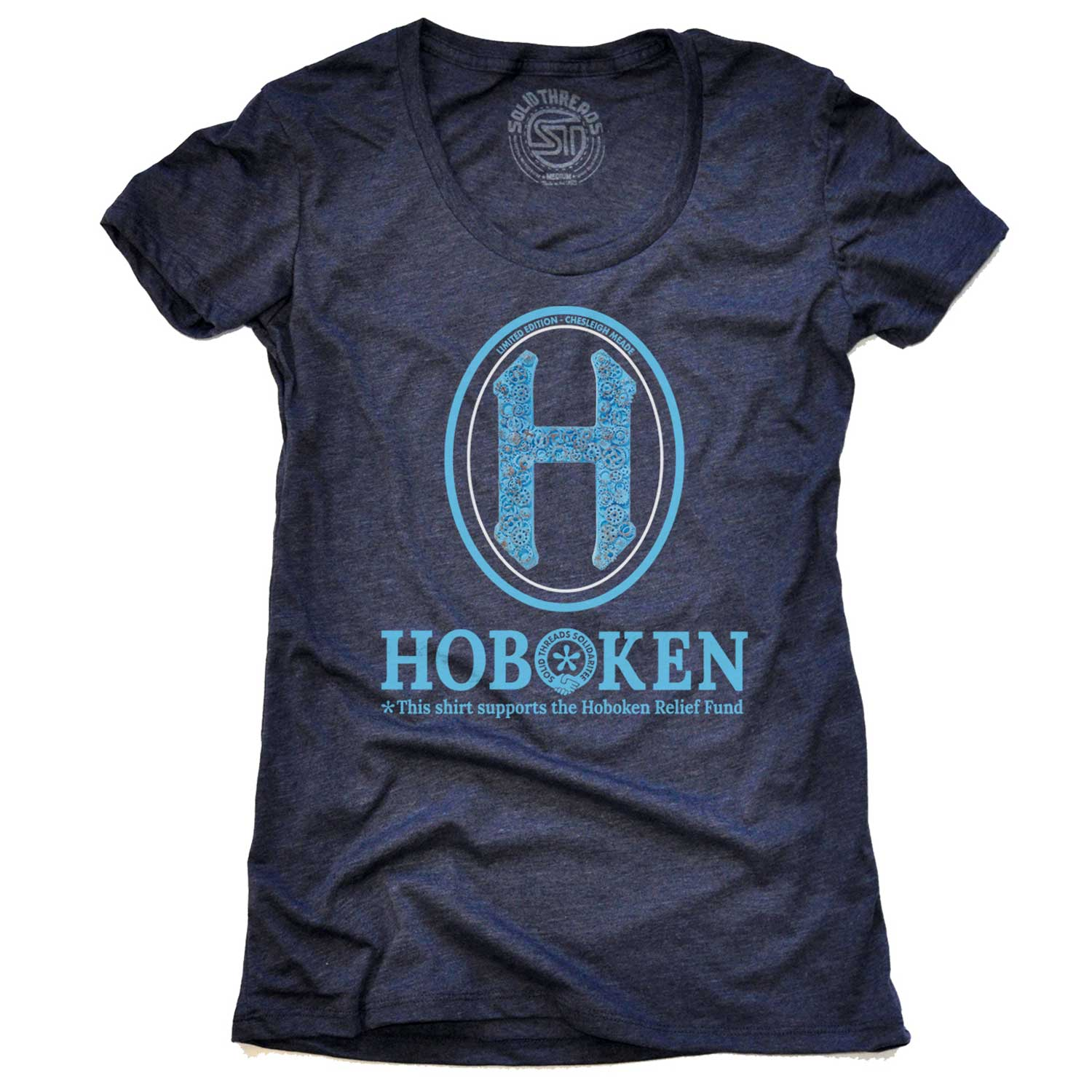 "Women's Hoboken ""H"" Relief Fund Limited Edition scoopneck tee-shirt with cool, retro Chesleigh Meade graphic 