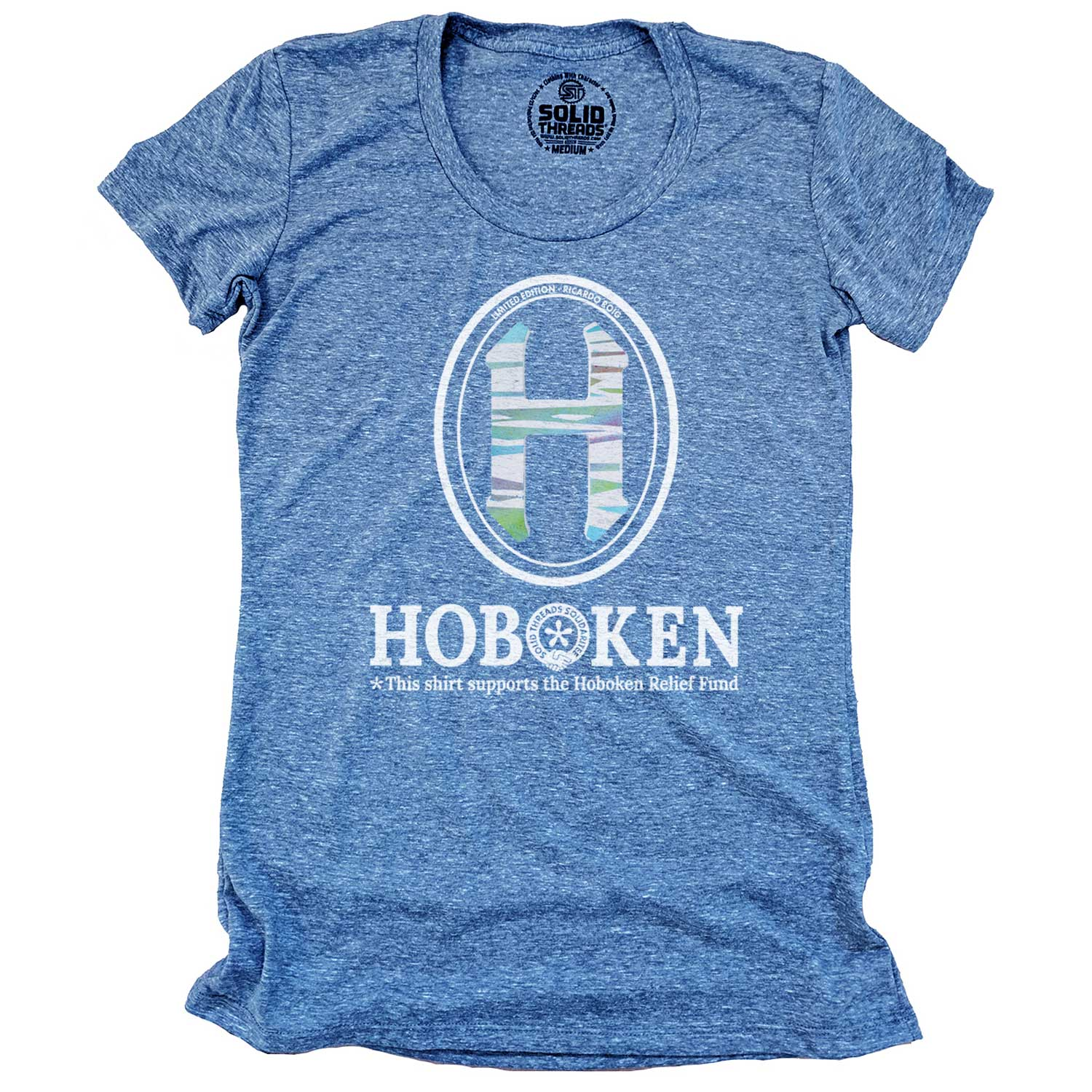 "Women's Hoboken ""H"" Relief Fund Limited Edition scoopneck tee-shirt with cool, retro Ricardo Roig graphic 