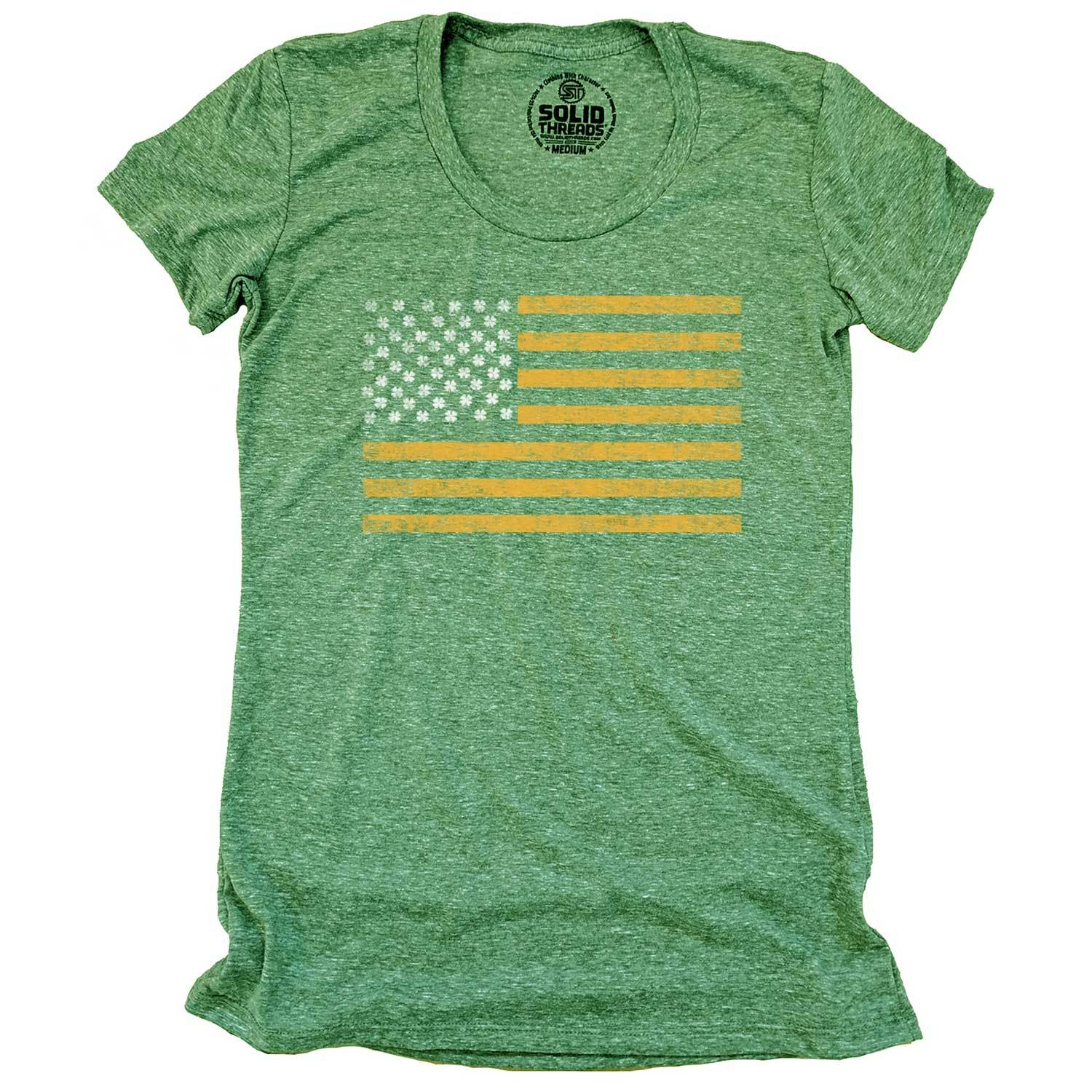 Women's Irish American Vintage Inspired Scoopneck Tee with cool, St. Paddy's graphic | Solid Threads