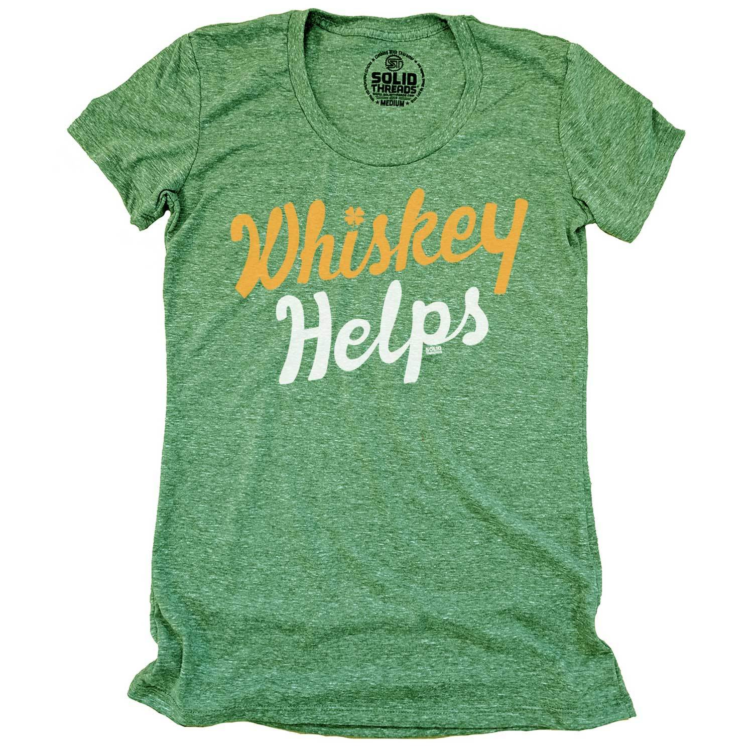 Women's Irish Whiskey Helps Vintage Inspired Scoopneck Tee with cool, St. Paddy's graphic | Solid Threads