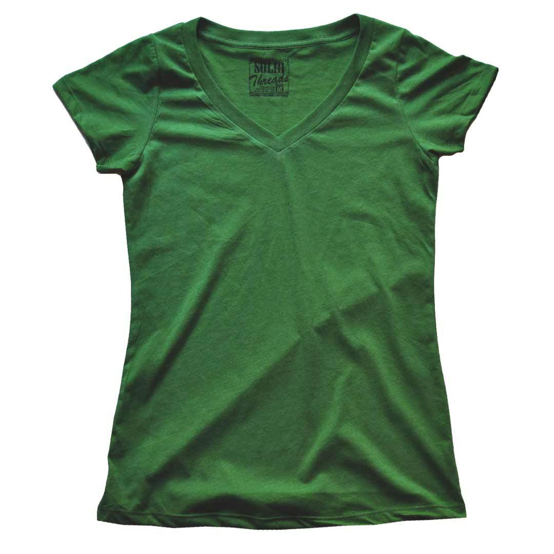 Women's Solid Threads V-Neck Royal T-shirt