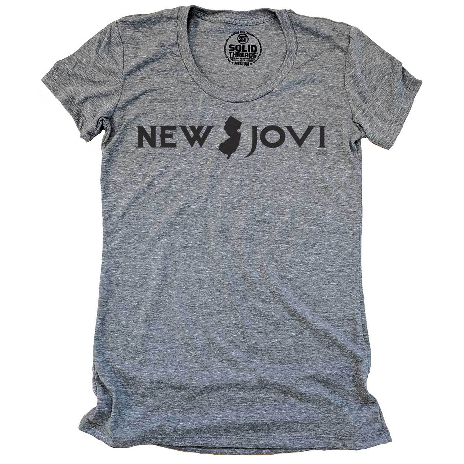 Women's New Jovi Vintage Inspired Scoopneck tee-shirt with funny, Bon Jovi graphic | Solid Threads