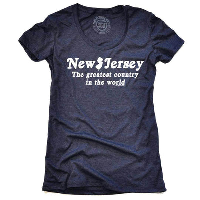 Women's New Jersey The Greatest Country In The World Vintage Navy T-shirt | SOLID THREADS