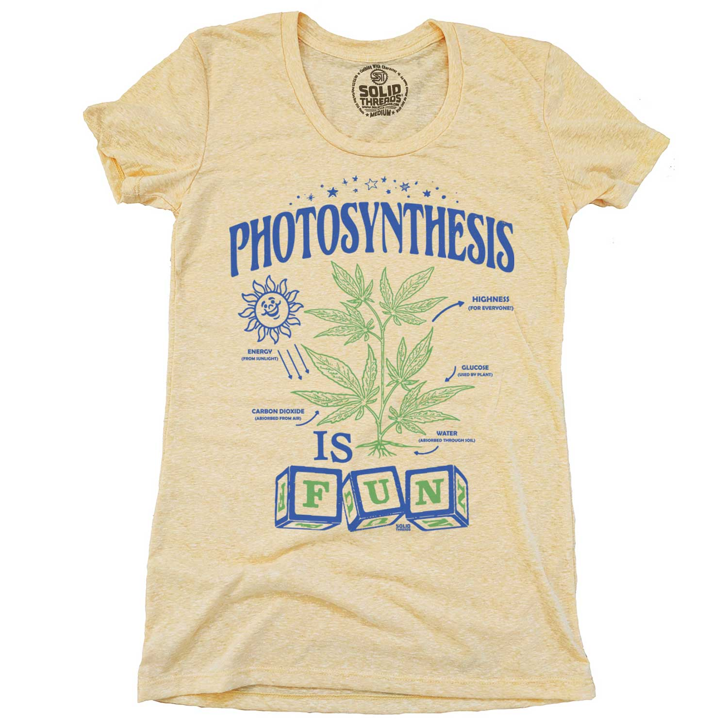 Women's Photosynthesis Vintage Inspired Scoopneck Tee-shirt with retro, marijuana graphic | Solid Threads