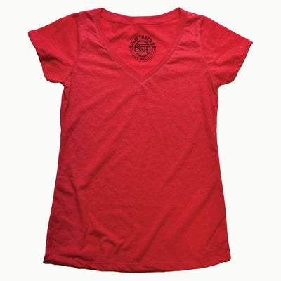 Women's Solid Threads V-Neck Red T-shirt