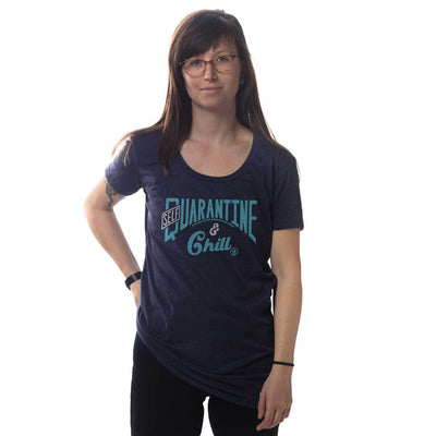Women's Self Quarantine & Chill Vintage Inspired Scoopneck Tee-shirt with Retro Coronavirus Relief Charity Graphic on Model | Solid Threads