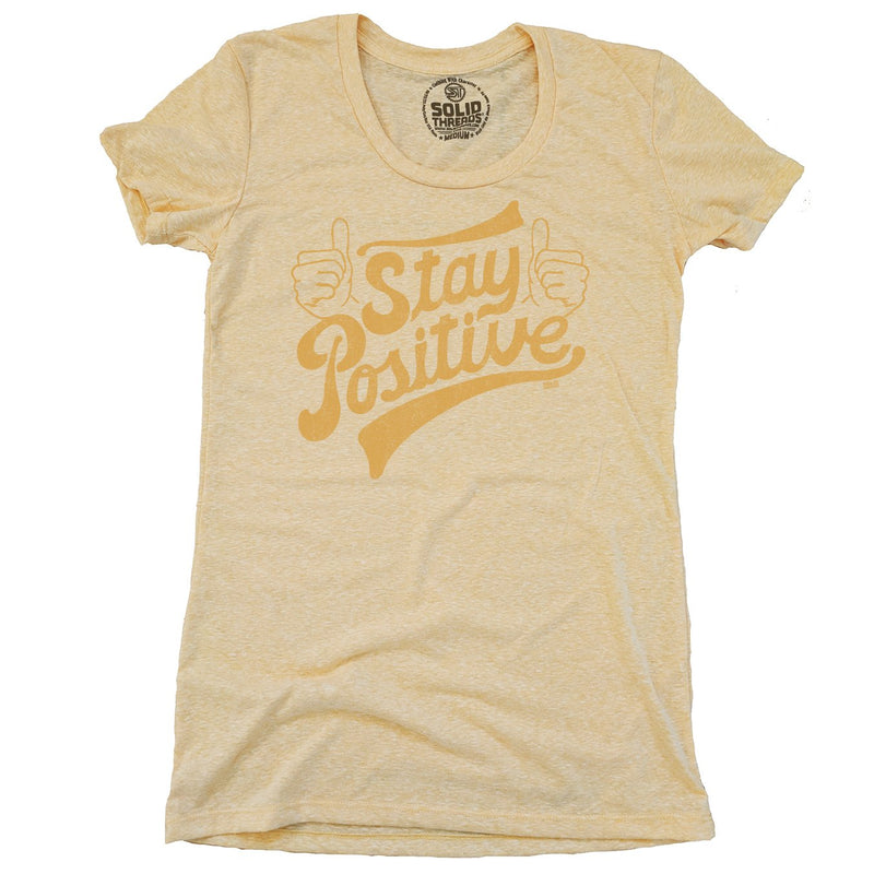 Women's Stay Positive Vintage Inspired Scoopneck Tee-shirt with Retro Thumbs Up Graphic | Solid Threads