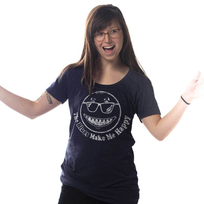 Women's The Blues Make Me Happy Vintage Inspired Scoopneck tee-shirt with cool, music graphic on model | Solid Threads