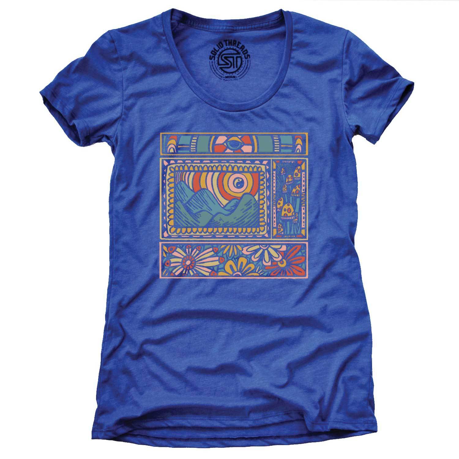 Women's Trippy Nature Vintage Inspired Scoopneck T-Shirt | Cool Psychedelic Graphic Tee | Solid Threads