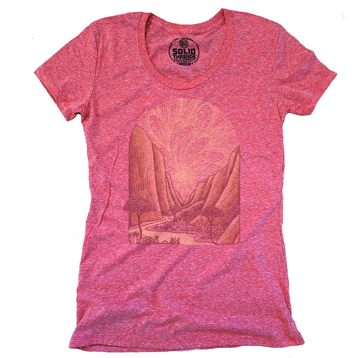 Women's Zion Vintage Inspired Scoopneck T-Shirt | Retro National Park Graphic Tee | Solid Threads