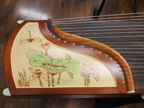 "Tiansheng Rosewood Guzheng with  Chinese Painting ""Lotus"""