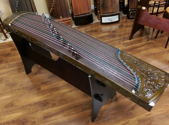 "Sound of China Golden-Thread  Nanmu Guzheng with Dragon Carving ""Nine Dragon Playing Pearls"""