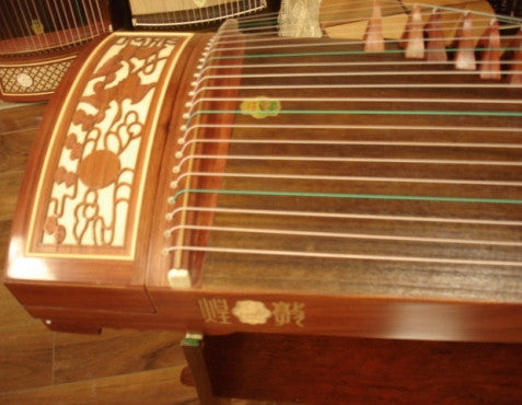 "Dunhuang 694DQ Bubinga Guzheng ""Duo Crane Facing the Sun"" with Master's Signature"