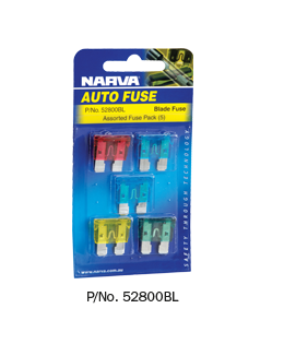 52800BL Narva Standard ATS Blade Fuses - Assortment Pack of 5
