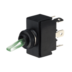 60073BL Narva Illuminated On / Off / On Plastic Toggle Switch - Natural / Green