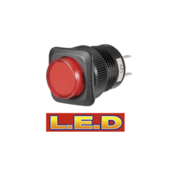 60086BL Narva Push / Push Switch with Red L.E.D