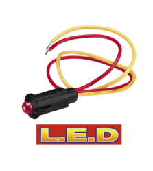 62077BL Narva 24 Volt Pilot Lamp Pre-wired with Red L.E.D