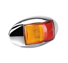 91404C Narva 10-33 Volt L.E.D Side Marker Lamp (Red/Amber) with Oval Chrome Defl