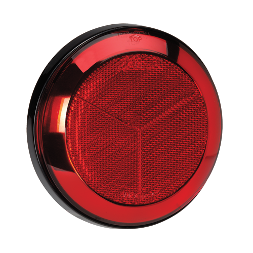 94309 Narva Red Retro Reflector with Chrome Ring and 130mm Black Base