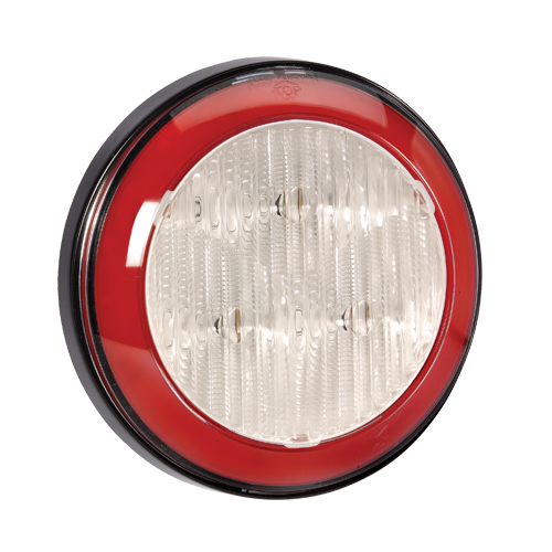 94312 Narva 9-33 Volt L.E.D Reverse Lamp (White) with Red L.E.D Tail Ring, 0.5m