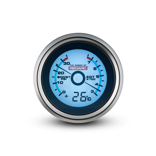REDARC EGT & BOOST PRESSURE 52MM GAUGE WITH OPTIONAL TEMP DISPLAY