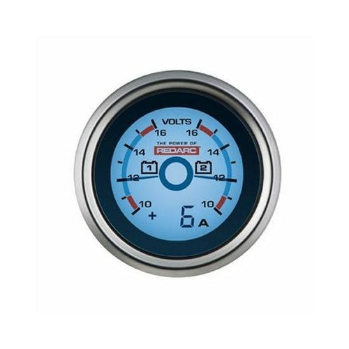 REDARC DUAL VOLTAGE 52MM GAUGE WITH OPTIONAL CURRENT DISPLAY