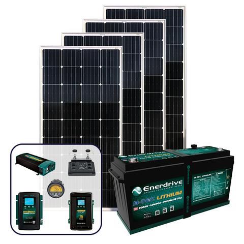 Enerdrive 200Ah Off-Grid 40A AC & DC Charging Bundle, with 720W of Solar Panels and 2000W Inverter (AC Transfer)