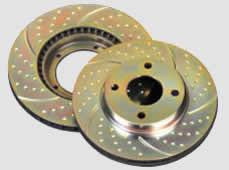 Mercedes Benz CL Class S Class SL 98-03 Rear Gold Dimpled Slotted Rotors - SALE