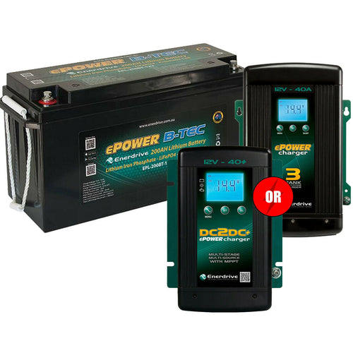 Enerdrive ePOWER B-TEC 12v 200aH Lithium Battery w/ FREE CHARGER OPTION