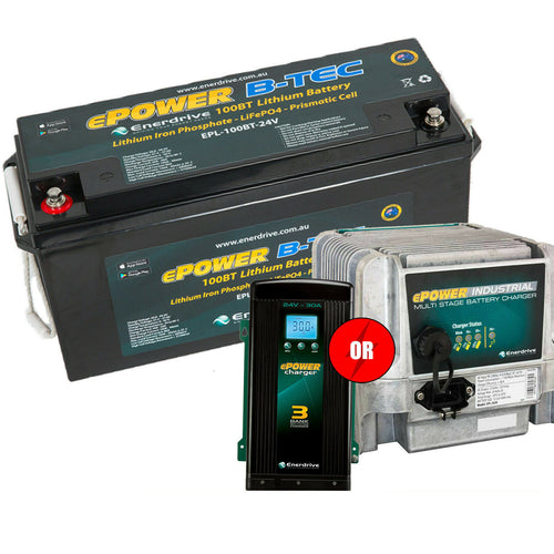 Enerdrive ePOWER B-TEC 24v 100aH Lithium Battery w/ FREE CHARGER OPTION