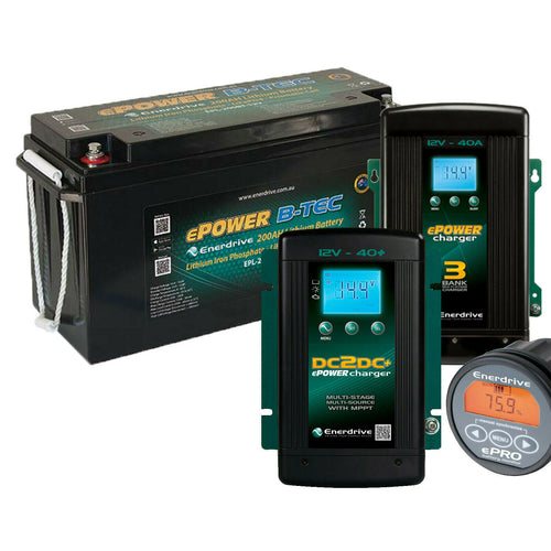Enerdrive ePOWER B-TEC 12v 200aH Lithium Battery w/ AC & DC CHARGERS & Monitor
