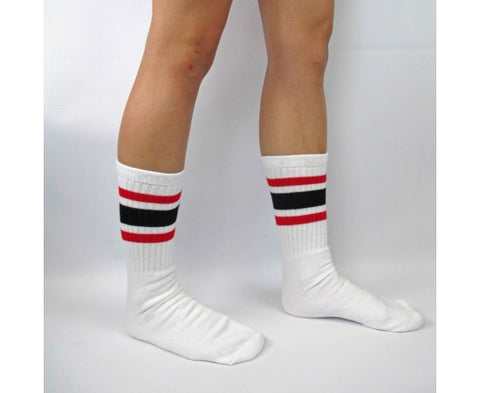 "Skater Socks 19"" Knee High White w/ Black & Red"